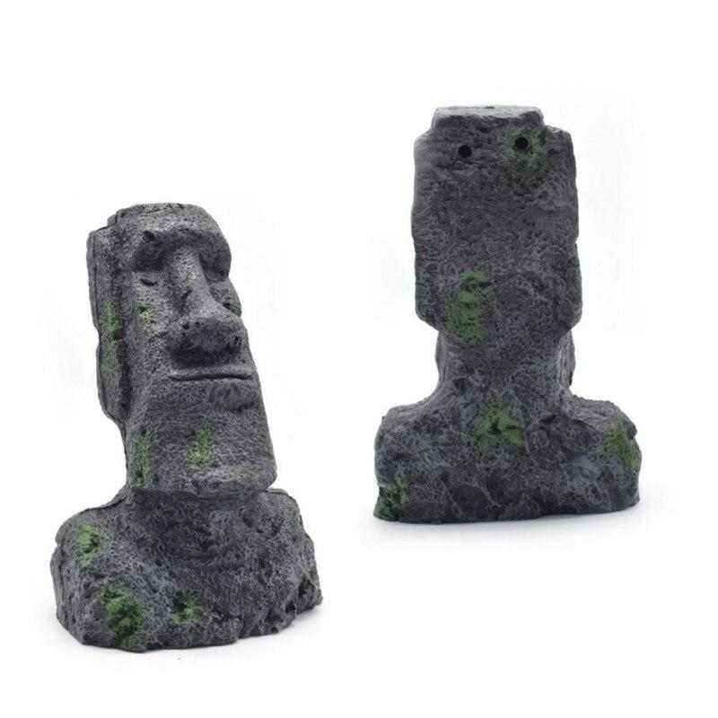 1pc Easter Island Moai Monolith Statue Resin Ancient Fish Tank Aquarium Decorations Desktop Ornaments