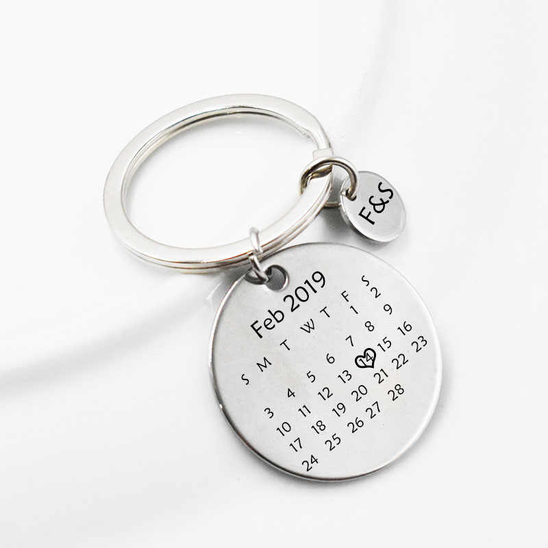Personalized Custom Jewelry Calendar KeyChain Engrave Heart Date Anniversary Gift Key Chain for Couples Friends Family Keyring