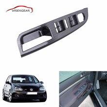 Carbon Grain Master Window Mirror Switch Control  Panel Trim Bezel Inside Door Handle Cover For VW Jetta Golf MK5 1K4868049C C/5