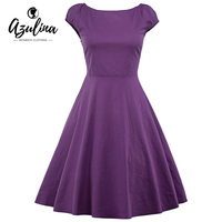 AZULINA Casual Women Vintage Retro Midi Dress Short Sleeve O Neck Elegant Ladies Party Dresses Vestido