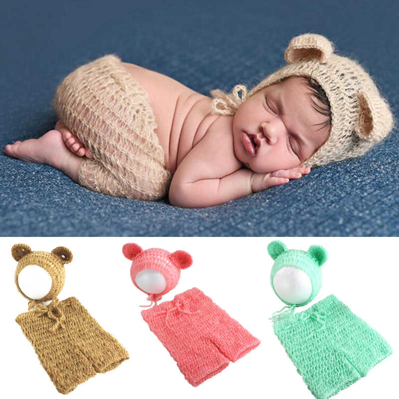 Mohair Newborn Photography Props Costumes Cap/Hat+Ruffles Pants Cute Bear Bebe 2pcs Set Baby Knitted Photo Pictures Accessories