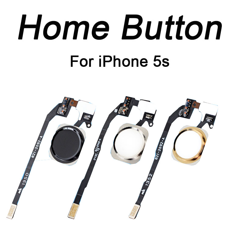 HOUSTMUST 1pcs Original Home Button With Flex Cable For IPhone 5s Black/White/Gold Homebutton Flex Assembly