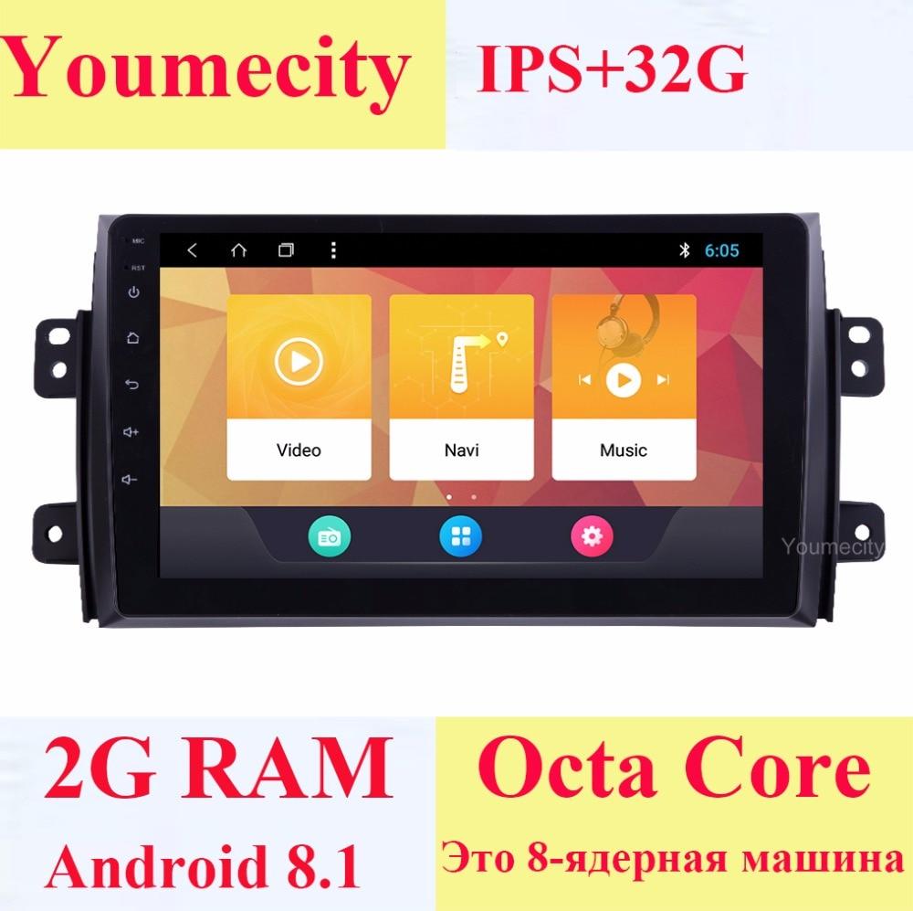 Youmecity Android 8.1 DVD De Voiture pour Suzuki SX4 2007-2012 Ans 2 DIN 3g/4g GPS radio vidéo lecteur Multimédia Capacitif IPS Écran