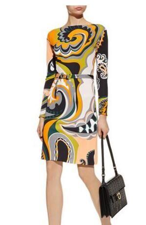 جديد المرأة الإيطالية الأزياء كم طويل مطاطا محبوك سليك سليم اللباس مع حزام-في فساتين من ملابس نسائية على  مجموعة 1