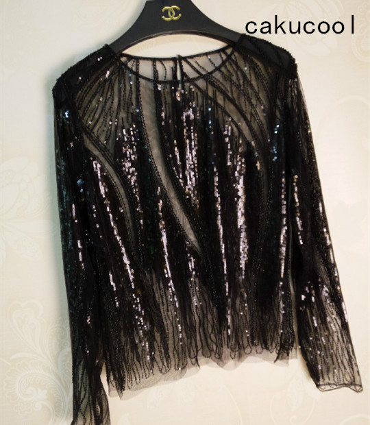 Cakucool Women Sequined Blouse Tops See-through Sexy O-neck Mesh Blusas Long Sleeve Embroid Beading Lady Runway Blouses Shirts