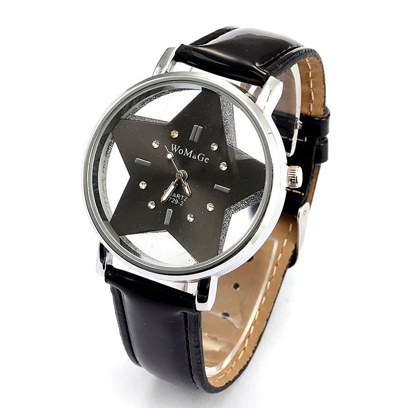 2019 New Brand Womage Cute Five-pointed Star Designer Style Wholesale Female Watch Lovely Pu Leather Nice Women Clock Oem Time