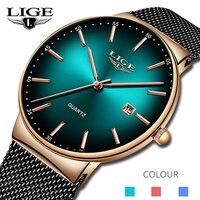 LIGE sport data męskie zegarki Top marka luksusowa wodoodporna moda fajny zegarek mężczyźni Ultra cienka tarcza kwarcowy zegarek Relogio Masculino w Zegarki kwarcowe od Zegarki na