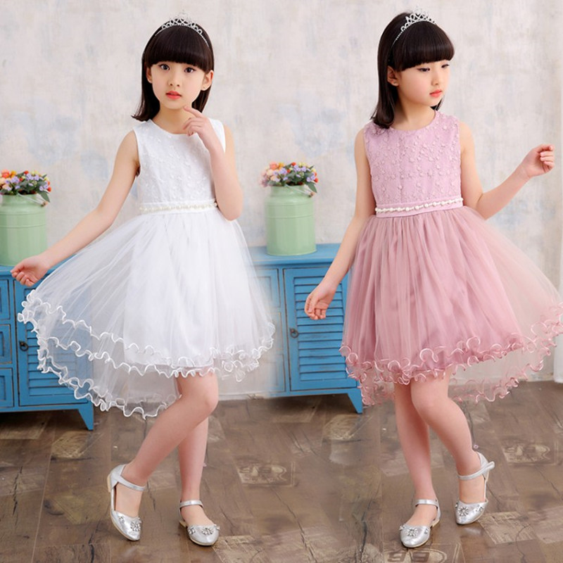 OBOVATUS Girls Princess Summer Lace Dovetail Dress 2017 New Arrival Big Girls Pearl Belt Dresses White Pink Gray Color 5 13Y