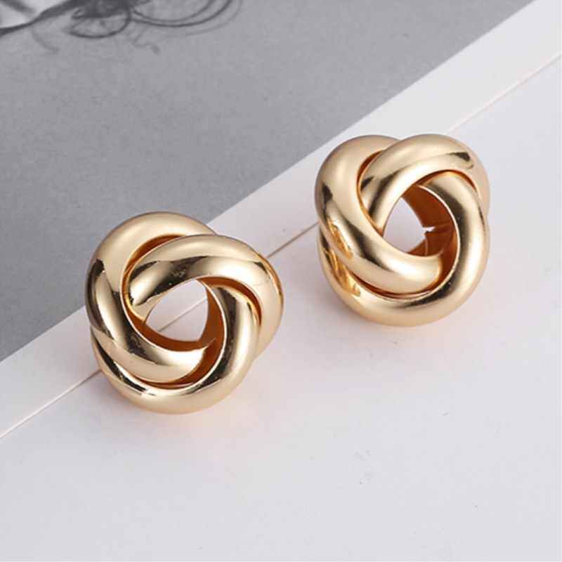 EK347 New Fashion Gold Color Twisted Small Stud Earrings for Women Statement Glossy Metal Earring Minimalist Party Jewelry