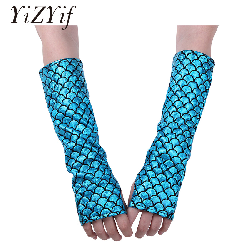 YiZYiF Mermaid Arm Sleeves Glove Fish Scale Pattern Printed Fingerless Long Gloves Arm Sleeves Adult Halloween Costume Accessory