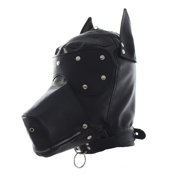 Buy cosplay dog headgear leather bondage bdsm fetish slave blindfold mask cap head restraints hood sex toys products adult games