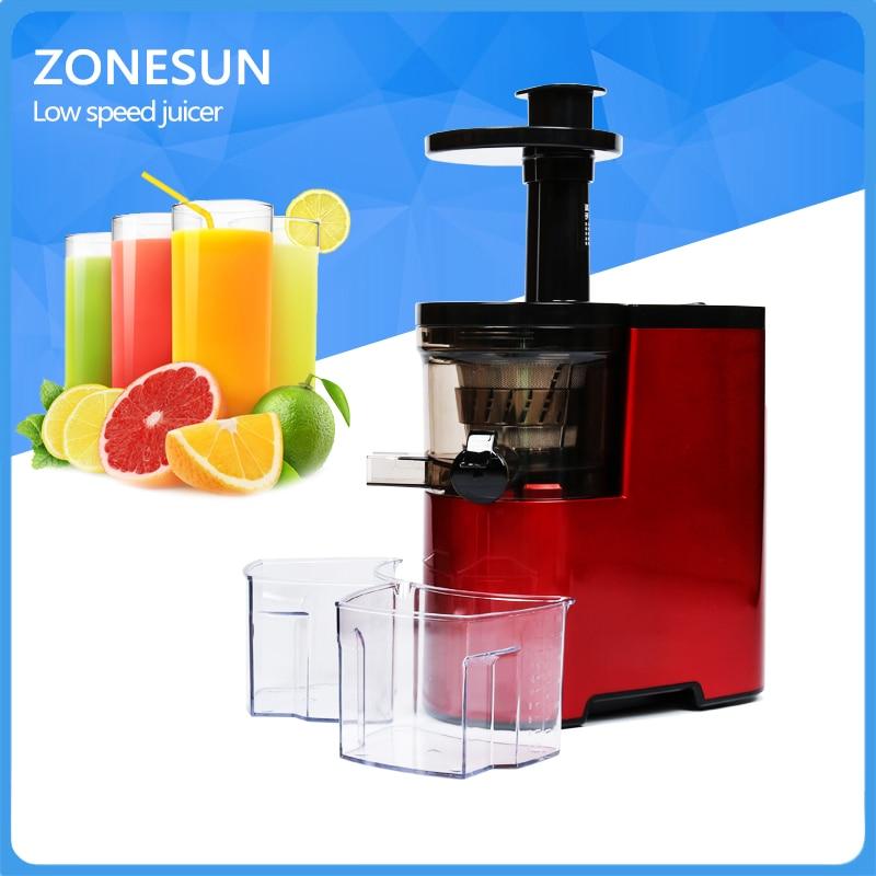 New ZONESUN Slow Juicer Fruits Vegetables Low Speed Juice Extractor 100% Juicer zonesun 2nd generation 100% original slow juicer fruit vegetable citrus low speed juice extractor
