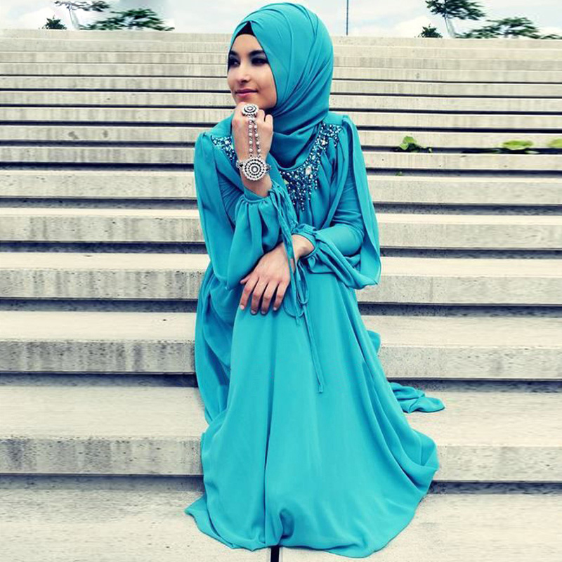 Oumeiya OMY189 Fashion Turkish Islamic font b Hijab b font Long Dress Evening Gowns Long Sleeve