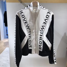 New Spring and Summer 2019 Coloured Colour Collar Sleeping Locomotive Jacket Letter Zippers Black Jacket Women Coat fashionable men s briefcase with zippers and black colour design