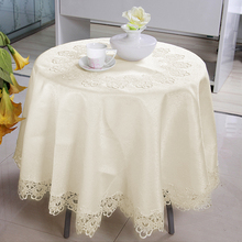 Romantic Ivory Round Tablecloth for Wedding Party Lace Floral Embroidered Edge Table Covers Soild Decor Jacquard Satin Cloth