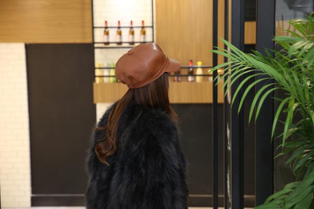 Boina sombrero de invierno retro cuero Pu