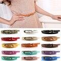 Fashion de Señora Multicolor PU de LA Pretina de Cuero Flaca Fina de La Correa de Cintura de La Hebilla