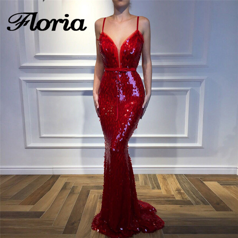 Arabic Red Sequins   Evening     Dresses   2018 Arabic Aibye Muslim Sexy Strapless Formal Prom   Dress   Robe de soiree Turkish Party Gowns
