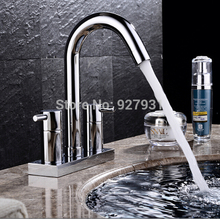 Double Hole Deck Mounted Dual Handles Basin Sink Faucet Chrome Brass Basin Mixer Tap