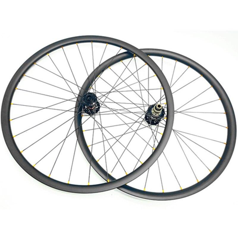 29er carbone vtt roues 30mm asymétrie sans crochet boost 110 148 pilier 1423 rayons tubeless vtt vélo roues UD mat XD