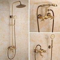 Все бронзовые антикварный набор для душа Ретро Европейский Стиль простой набор для душа Ванна смеситель для душа античная Медь душ