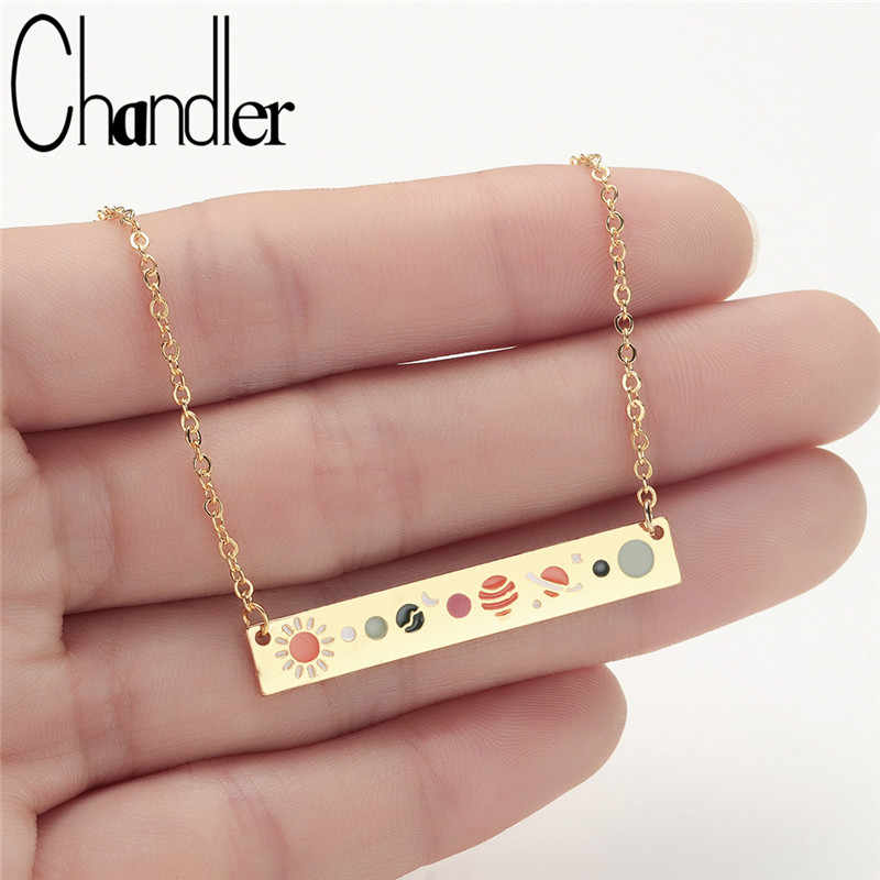 Chandler Stainless Steel Gold Color Bar Chain Necklace Galaxy Solar Balance Banner Pendant Geometrical Handmade Homme Bijoux