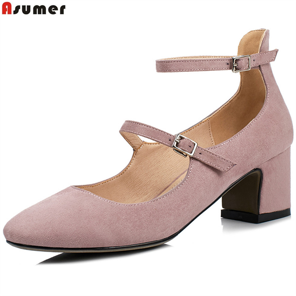 ASUMER black pink gray fashion ladies spring autumn shoes square toe buckle shallow women high heels shoes big size 33-43 new spring autumn women shoes pointed toe high quality brand fashion ol dress womens flats ladies shoes black blue pink gray