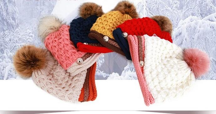 Free Shipping 1 PCS Fashion 2016 Autumn And Winter Hats Warm Knitting Ball Cap Casual Outdoor Caps For Women WMMI003  free shipping 1 set 3 pcs fashion 2016 autumn and winter hats warm knitting ball cap casual outdoor caps for women wcxd009
