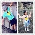 Бобо * выбирает * новые 2016 мужская детские детские большая голова сын рисунок хлопка футболки дети летний топ ткань высокое качество 1-6Y