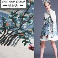 0.98 mét/cái Hoa và chim thiết kế váy thêu in vải jacquard vải nguyên liệu các loại vải cao cấp Miễn Phí vận chuyển