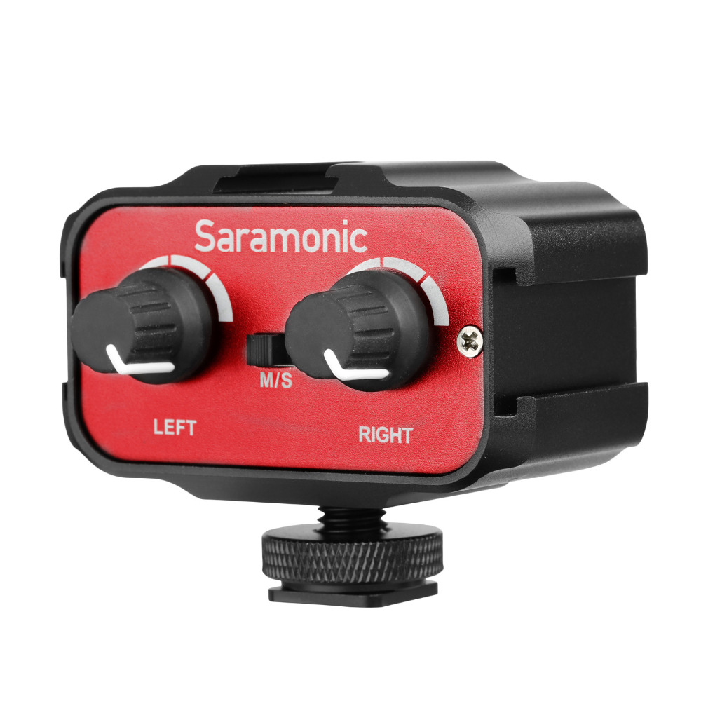 Saramonic SR AX100 Universal Microphone Audio Adapter Mixer with Stereo Dual Mono 3 5mm Inputs for