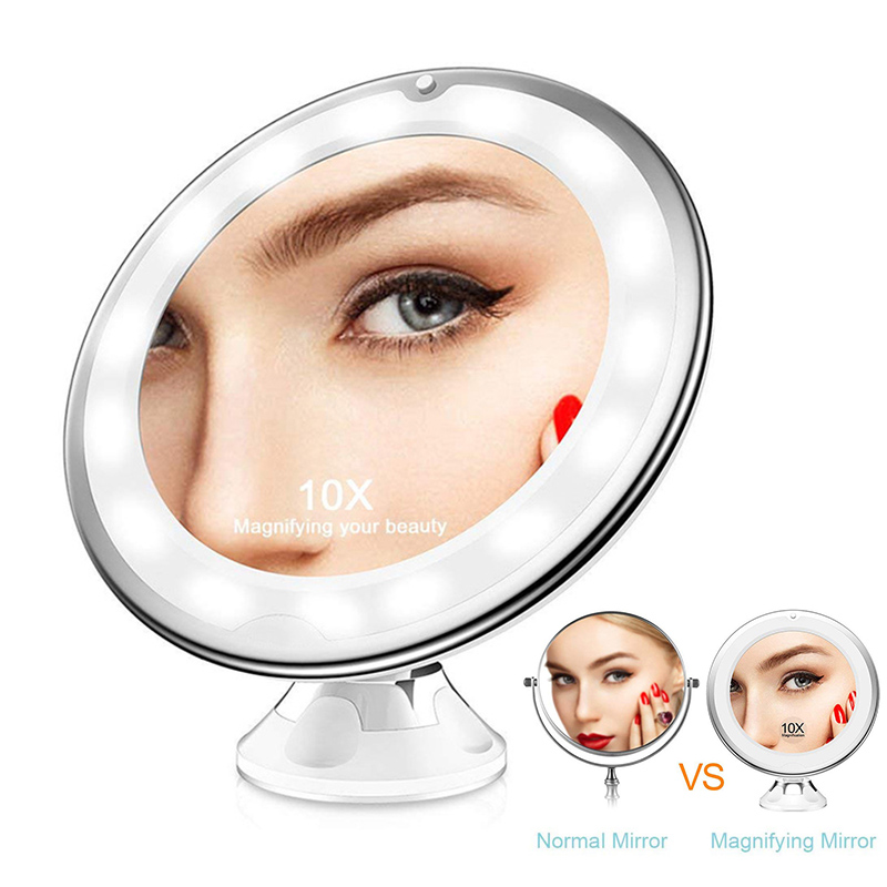 10x Magnifying Makeup Mirror.Us 15 36 28 Off Led Light 10x Magnifying Makeup Mirror With Suction Cup 360 Rotate Portable Makeup Mirror For Home Travel Bathroom In Makeup Mirrors