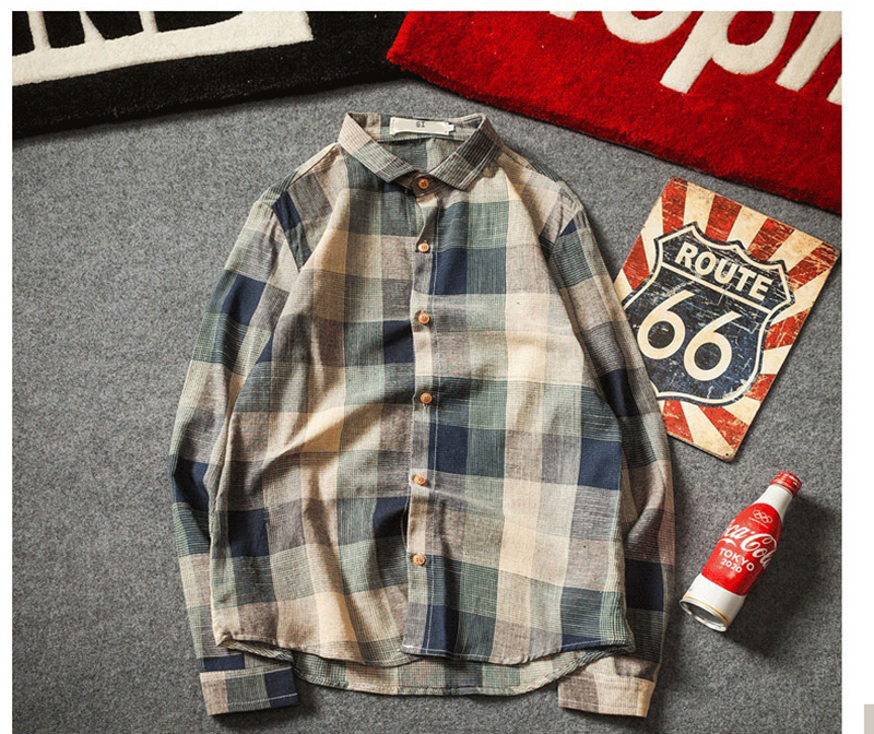 Check Shirts For Men Loose Men Button Up (5)