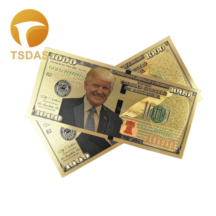 USA President Donald Trump Dollars Banknotes Collection $1000 Banknotes Gold Plated image
