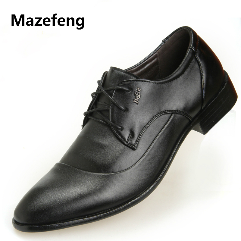 Mazefeng 2018 Fashion Spring Autumn Men Dress Shoes Men Leather Shoes Lace-up Male Business Shoes Pointed Toe British Style mazefeng new fashion 2018 spring autumn men dress shoes business male leather shoes solid color men work shoes slip on round toe