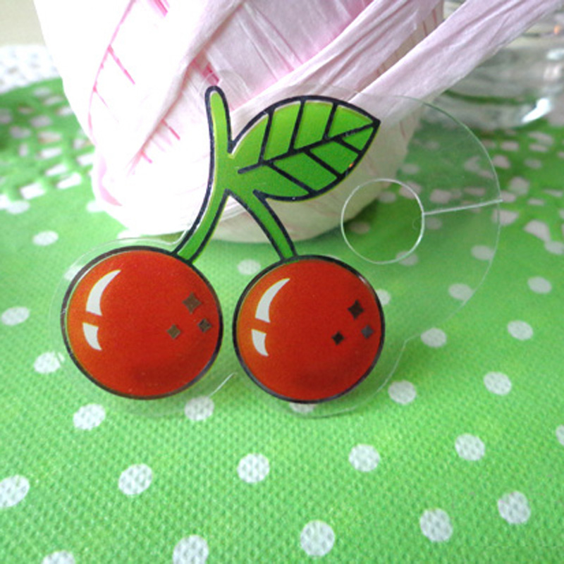 50pcs Lovely Cherry Pet Tie for Gift Wrapping, Gift Packing Clip, Clover PVC Clear Tie Bag Clip Party Birthday Favor