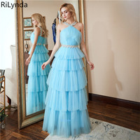New Arrival Long Prom Dresses Luxury Beaded Top Tank Sleeveless Crystals Satin Formal Evening Dress Party Gown Custom