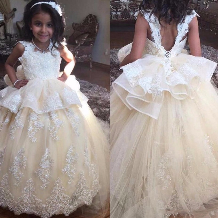 Princess Ivory Tulle Ball Gown   Flower     Girl     Dresses   2019 Scoop Appliques Bow Backless Floor Length Communion   Dresses