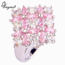 lingmei Flower Cluster Jewelry Wedding Party Rings Pink Topaz Silver Ring Size 6 7 8 9 10 11 12 Fashion Popular Gift Wholesale