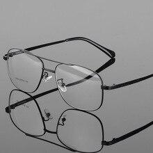 Okulary z lekkiego stopu rama mężczyźni duża kwadratowa krótkowzroczność okulary korekcyjne męskie metalowe pełne oprawki na okulary 2256 ramki okularów