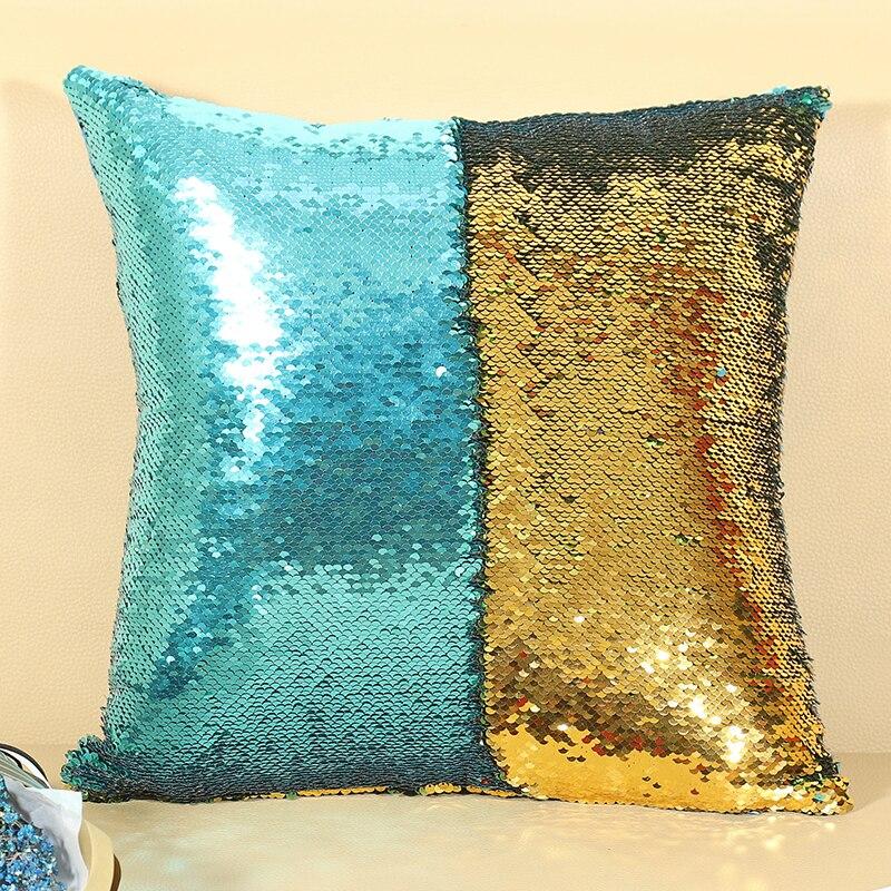 Подушка со стразами в виде русалки, Волшебная блестящая улыбка, декоративная, опт, меняющая цвет, двусторонний, в стиле пэчворк, однотонный чехол для подушки