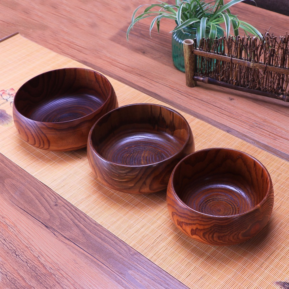 Creative Wooden Bowl Salad Ramen Soup Tableware Bowls Kids Food Container Instant Noodles For Kitchen Rice