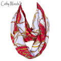 Luxury Brand Scarf Women Chain Print Silk Neck Tube Scarf Stain Scarves Womens Accessories/Scarf Foulard Circle Snood Bandana