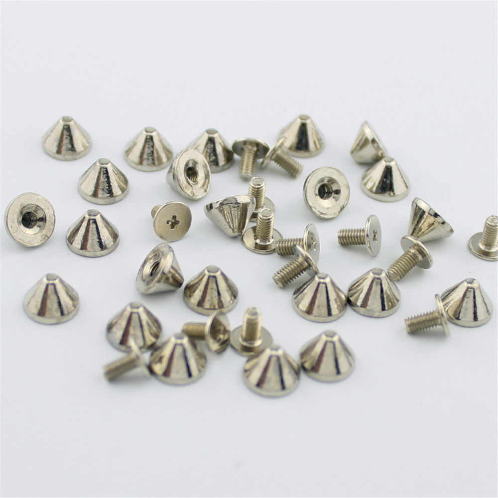 50pcs 9x6mm silver gold thorns spikes rivets for leather high quality rivets bullet with screws DIY studs and spikes for clothes