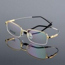 Promotion Titanium Alloy Memory Temple Men Glasses Eyewear Frame Half Rim Myopia Eyeglasses Frames Reading