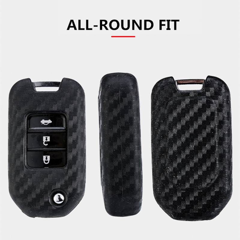 Image 5 - 2019 New Carbon Fiber Silica gel Key Cover Case For Honda 2016 2017 CRV Pilot Accord Civic Car Shell Auto Key keychain keyring-in Key Case for Car from Automobiles & Motorcycles