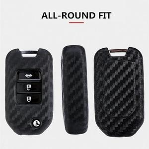 Image 5 - 2019 New Carbon Fiber Silica gel Key Cover Case For Honda 2016 2017 CRV Pilot Accord Civic Car Shell Auto Key keychain keyring