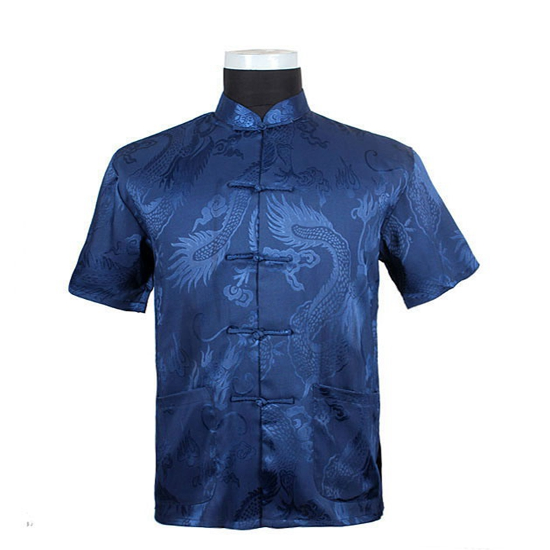 Hot sale chinese tradition style men 39 s blue dragon pattern for Dress shirts on sale online