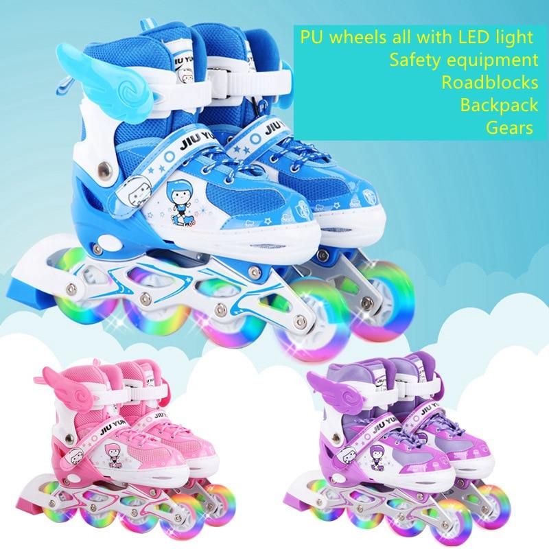 Jiuyun младших детей Для мальчиков и девочек Дети Катание на роликах дышащая обувь 8 pu колеса все с LED свет регулируемый размер