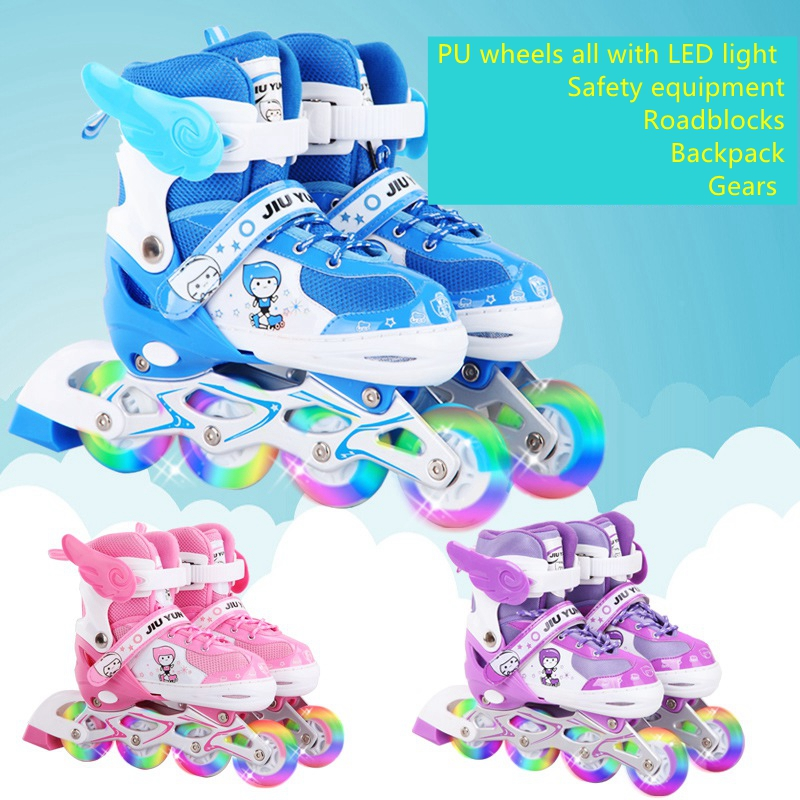brand JIUYUN Junior children child boys girls kids roller skating shoes 8 PU wheels all with LED light the size adjustable 2017new children led light shoes with one two wheels kids pu leather high help roller skate shoes boys girls sneakers shoes